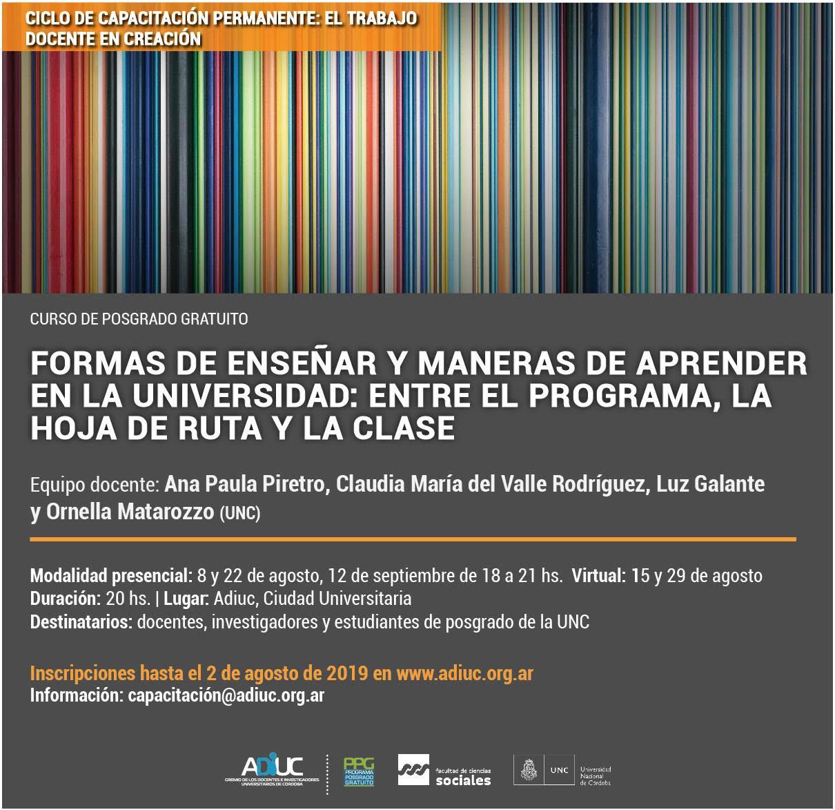 Formas De Enseñar Y Maneras De Aprender En La Universidad: Entre El Programa, La Hoja De Ruta Y La Clase