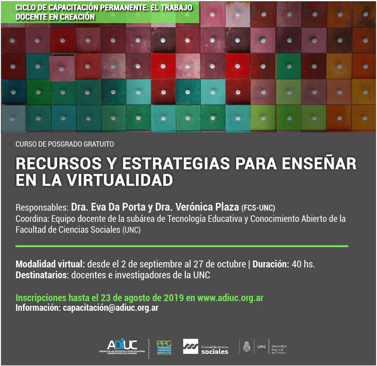 Curso De Posgrado Gratuito | Recursos Y Estrategias Para Enseñar En La Virtualidad