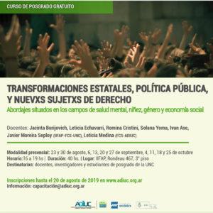 """Curso De Posgrado Gratuito: """"Transformaciones Estatales, Política Pública Y Nuevxs Sujetxs De Derecho"""""""