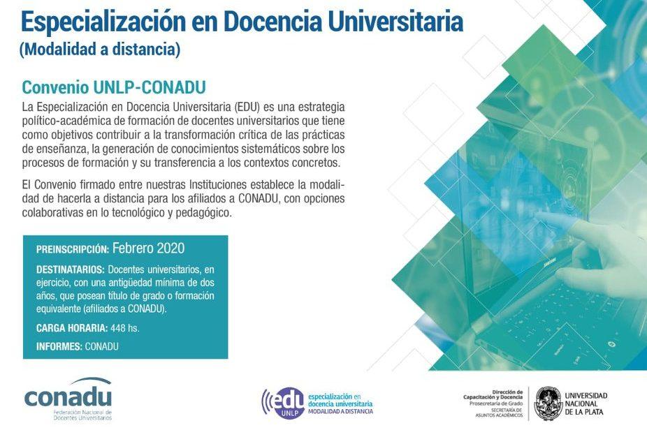 Afiliados/as de ADIUC cursarán en forma gratuita la Especialización en Docencia Universitaria (UNLP, modalidad a distancia)