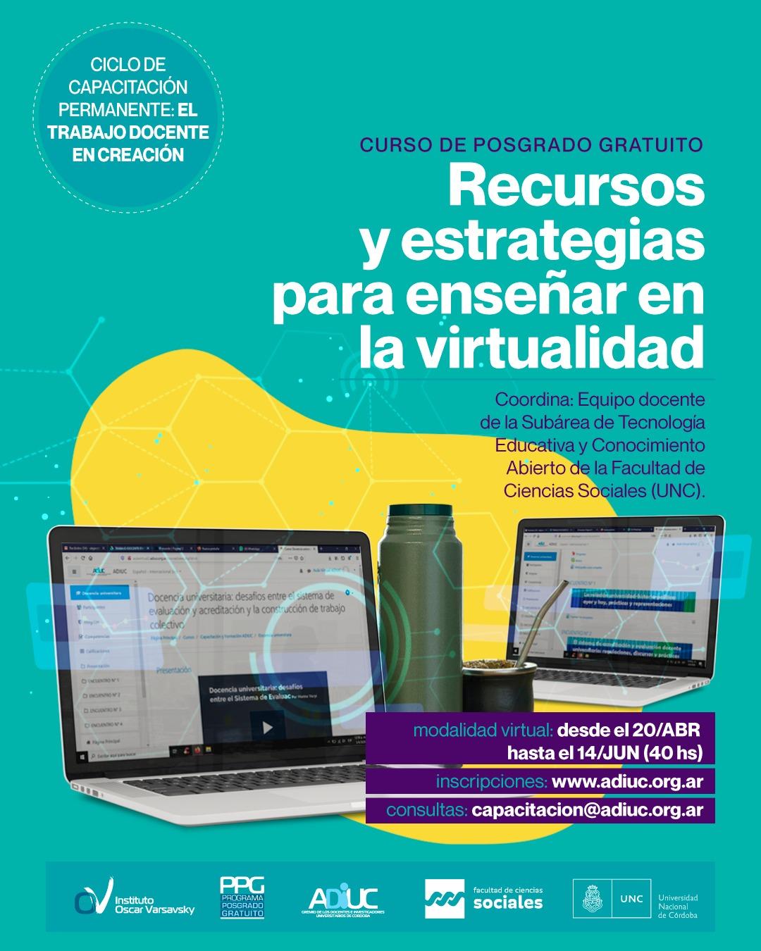 Recursos Y Estrategias Para Enseñar En La Virtualidad   Curso De Posgrado Gratuito