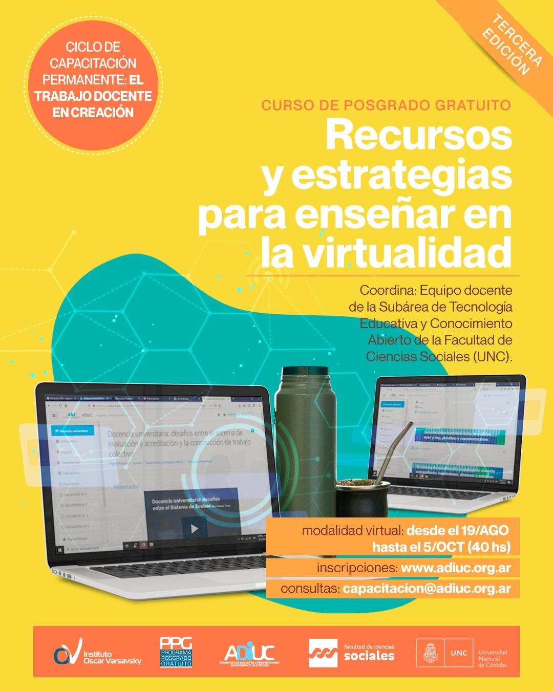 RECURSOS Y ESTRATEGIAS PARA ENSEÑAR EN LA VIRTUALIDAD – Tercera Edición