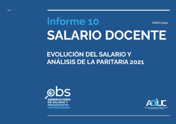 Informe salario docente (Paritaria 2021)